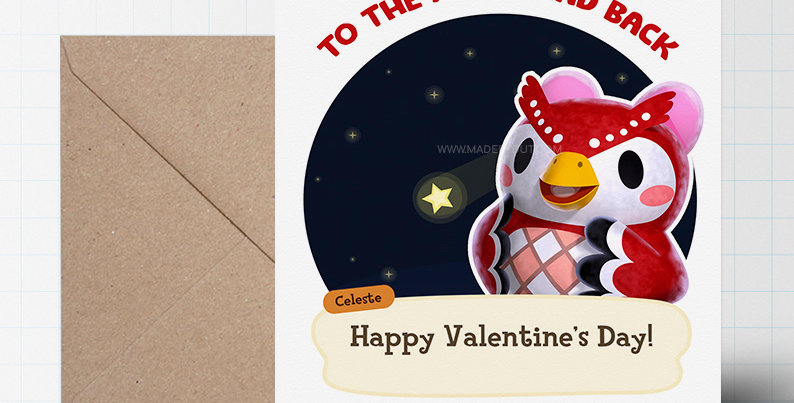Valentines Greeting Card - Animal Crossing Themed - A5 size