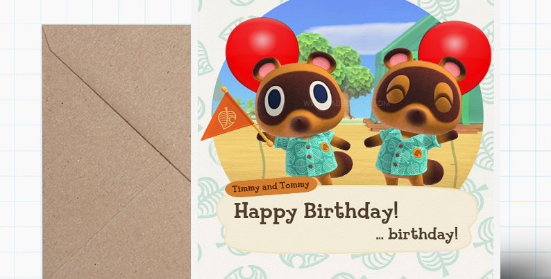 Birthday Greeting Card - Animal Crossing Themed - A5 size