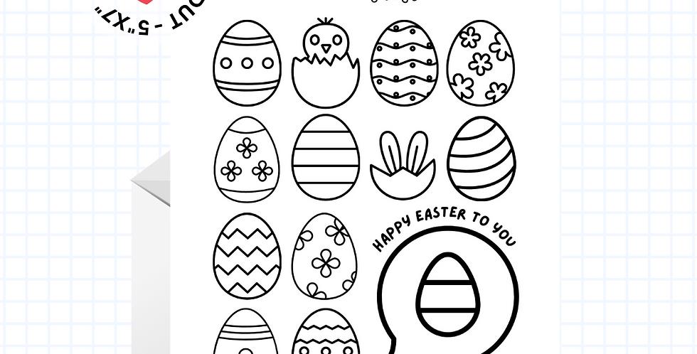Coloring Card • Fun Easter • Greeting Card