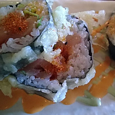 Spicy salmon tempura roll 4 pc
