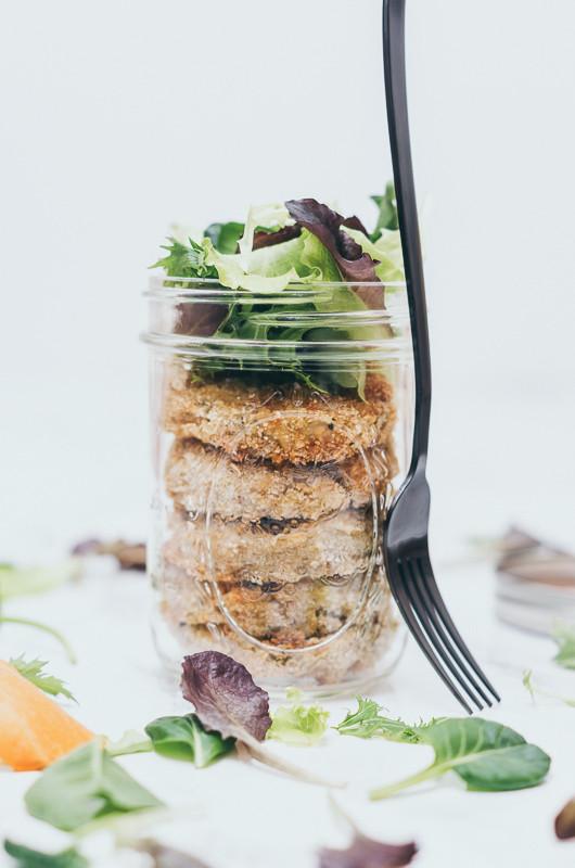 Zucchinilaibchen, Gabel, Salat