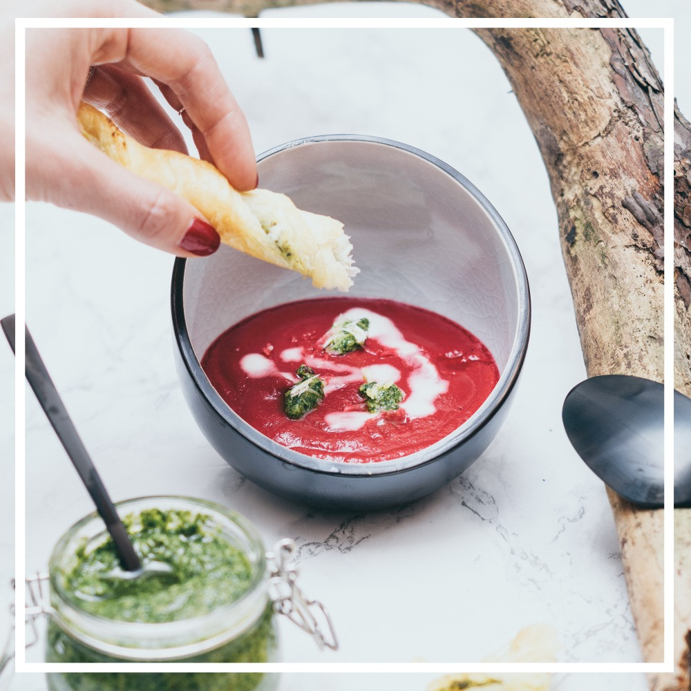 Rote Rübe, Suppe, Pesto