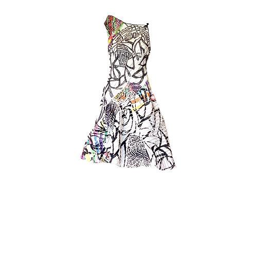 Vestido Zibeline  Nervurado bordado Circus
