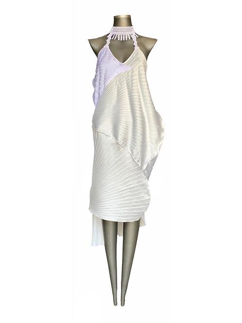 Vestido Cetim Nervurado Gola Renda