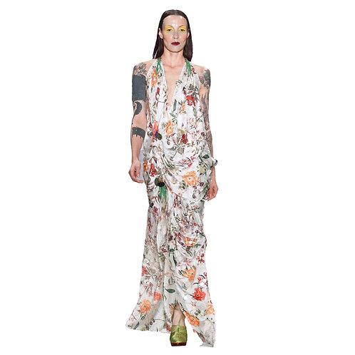 Vestido com paetês transparentes e flores