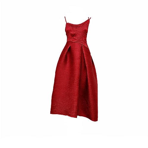 Vestido Corte Assimétrico Cetim Nervurado