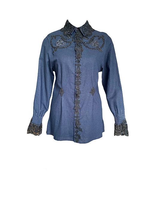 """Mlv/3256 Camisa """"Dândi"""" com aplicações"""