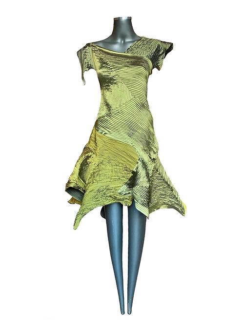Vestido Tafetá  com Nervuras
