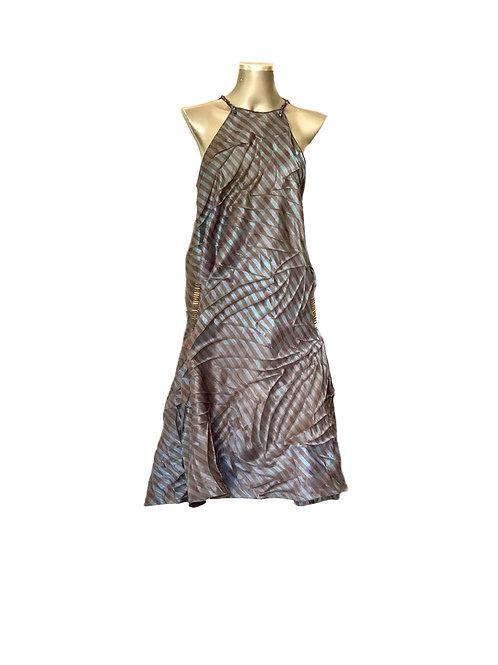 Vestido Seda Listra com Nervuras