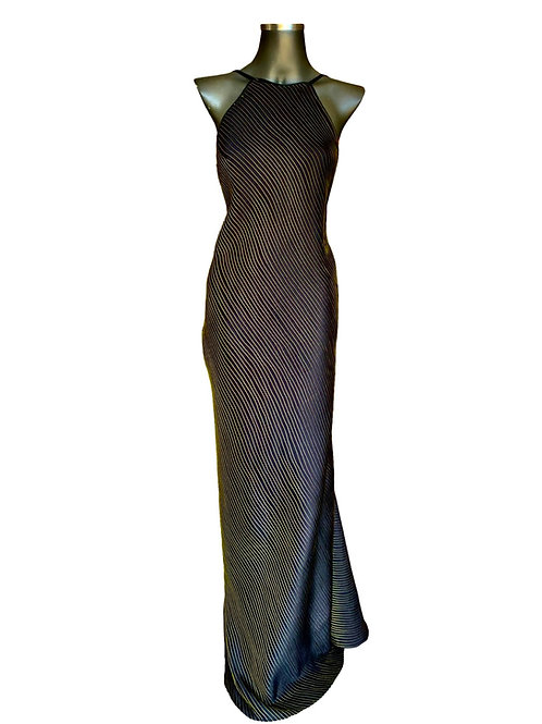 Lv/5620 Vestido Seda Pura Nervurado