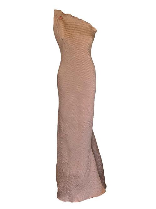 Vestido longo Crepe Nervurado