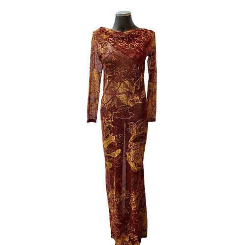 Vestido longo manga longa com nervuras snake