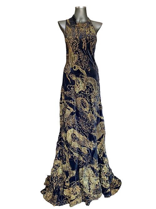 Lv/5272 Vestido Veludo Bordado Dragões