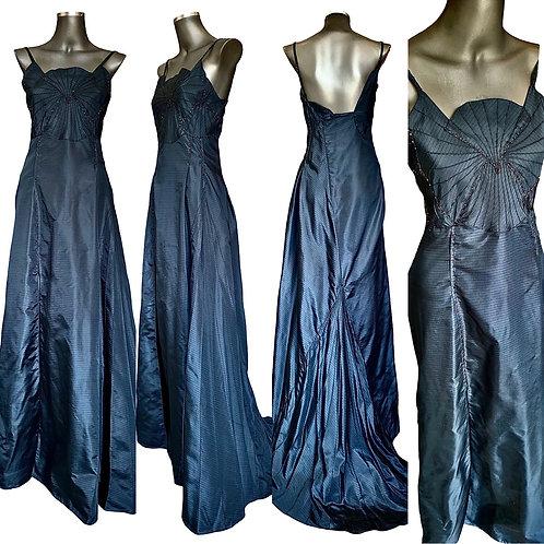 Lv/5616 Vestido em Seda Pura Maquinetado