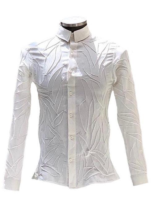 Camisa seda linho com desenho nervurado