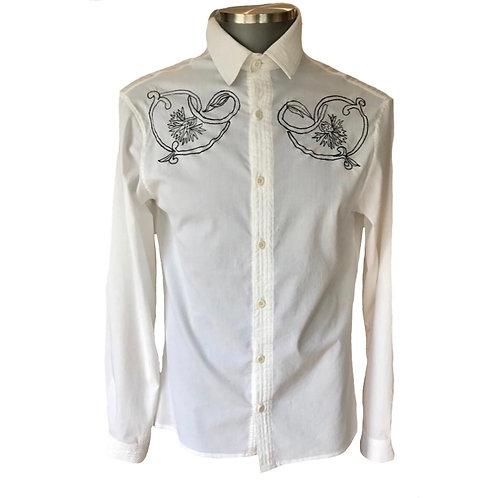 Camisa linho e viscose com bordado