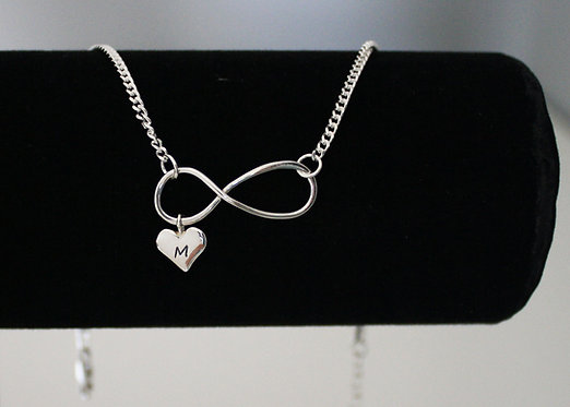 Infinity anklet with personalized heart