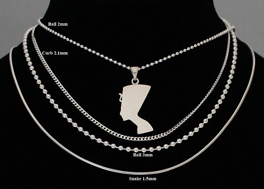 Queen Nefertiti Necklace, Solid Silver Nefertiti Necklace, Africa Pendant, Egypt