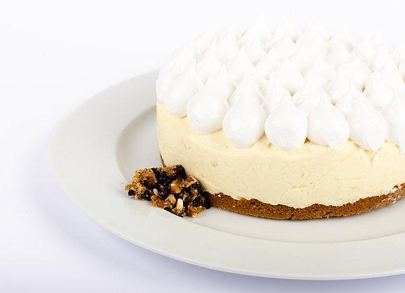 Kuchen de chocolate blanco y limón con merengue
