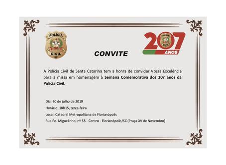 Missa em homenagem à Semana Comemorativa dos 207 anos da Polícia Civil