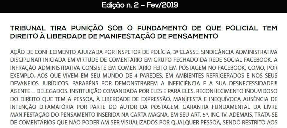 INFORMATIVO DE JURISPRUDÊNCIA POLÍCIA CIVIL – 2ª EDIÇÃO