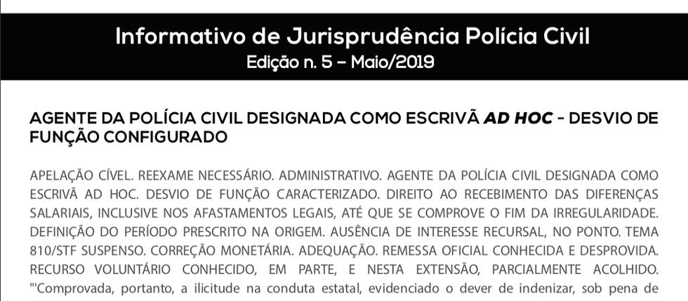 INFORMATIVO DE JURISPRUDÊNCIA POLÍCIA CIVIL – 5ª EDIÇÃO