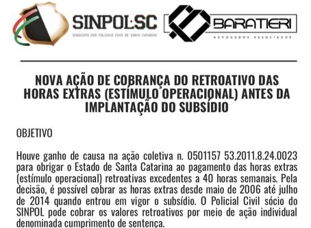 Nova Ação de Cobrança do Retroativo das Horas Extras (Estímulo Operacional).