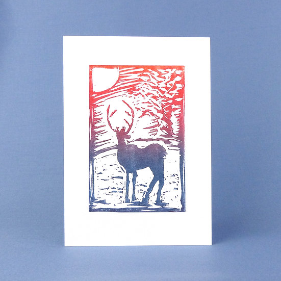 Winter Stag - Nightfall - Handmade Greetings Card