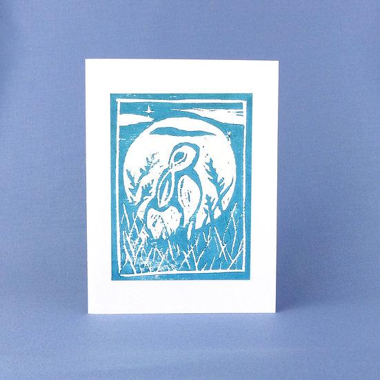 Wild Hare Card - Blue - Handmade Greetings Card