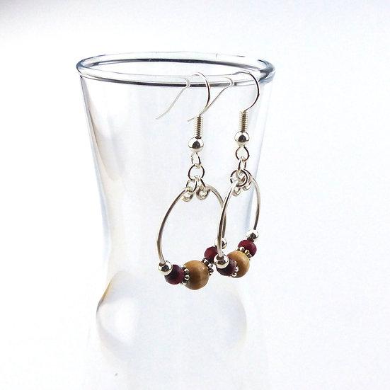 Wooden Bead Hoop Earrings