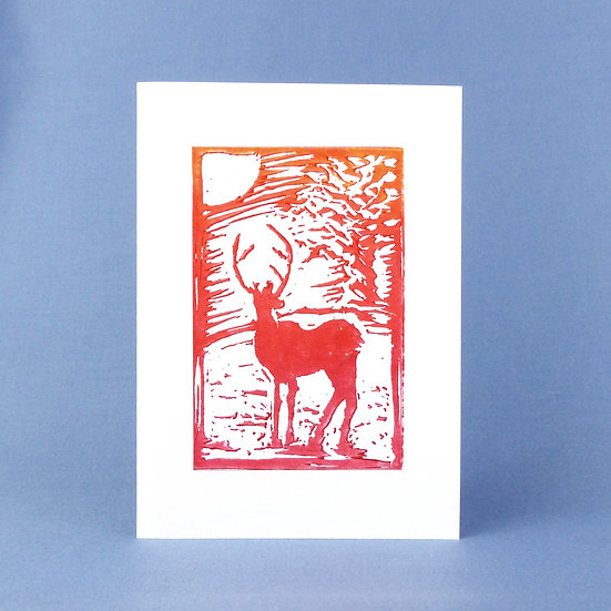 Winter Stag Card - Sunset - Handmade Greetings Card