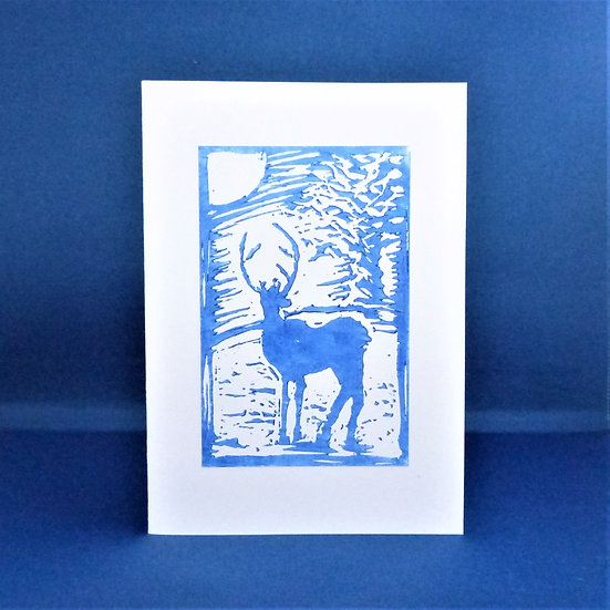 Stag Card - Plain blue