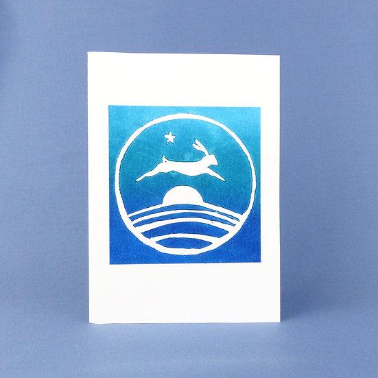 Leaping Hare Card - Midnight - Handmade Greetings Card