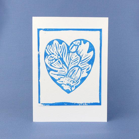 Oak Leaf and Acorn Heart Card - Blue