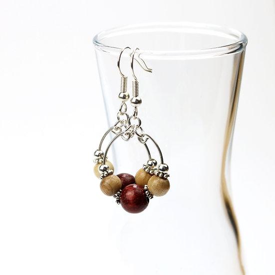 Wooden Beaded Boho Hoop Earrings {Large Bead)
