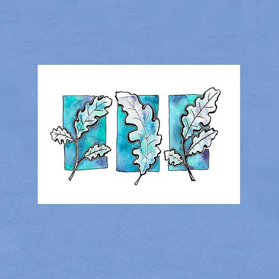 Oak Leaves - Original Art Card