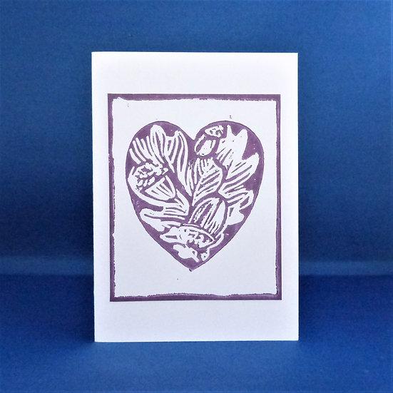 Oak Leaf and Acorn Heart Card - Aubergine