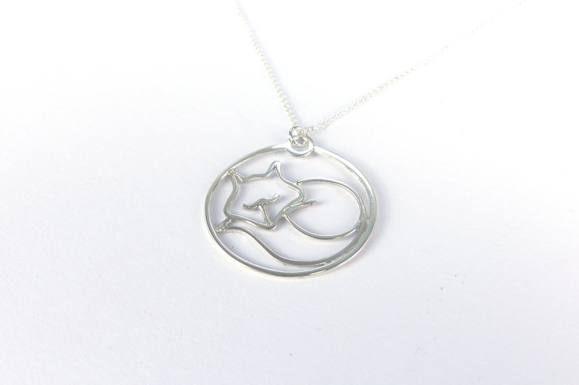 Sterling Silver Sleeping Fox Pendant