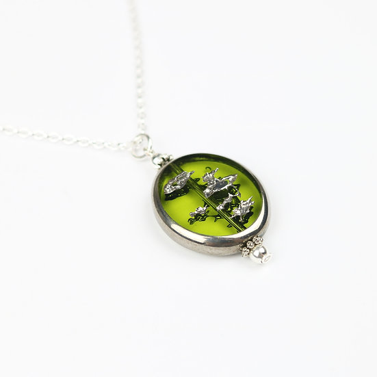 Green Glass Pendant Necklace