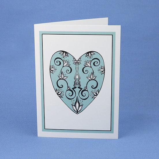 Teal Heart - Original Art Greetings Card