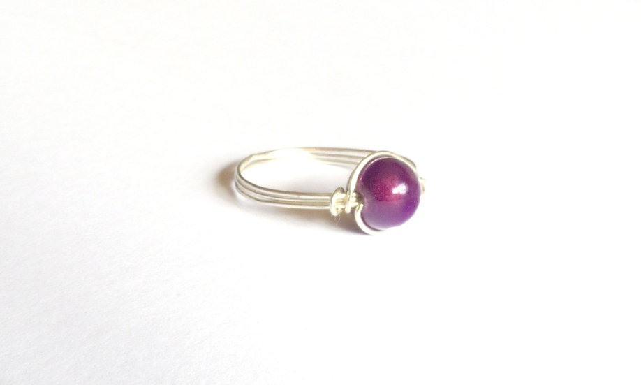 Sterling Silver Bead Ring (Plum)