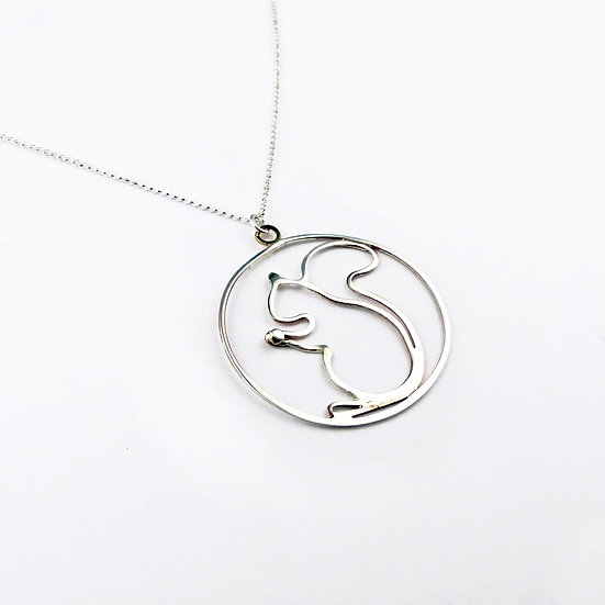 Sterling Silver Squirrel Pendant Necklace