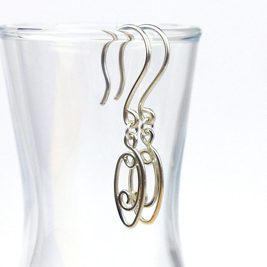 Sterling Silver Handmade Scroll Earrings