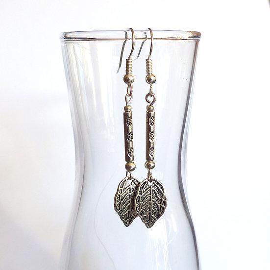 Textured Leaf Earrings