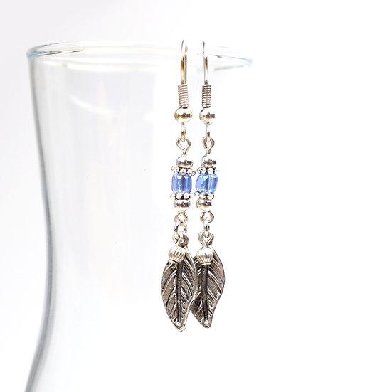 Blue Feather Beaded Drop Earrings