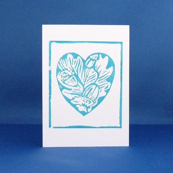 Oak Leaf and Acorn Heart Card - Turquoise