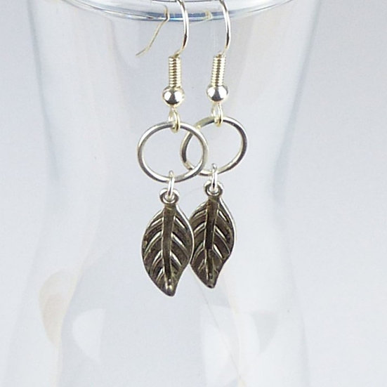 Feather And Circle Earrings