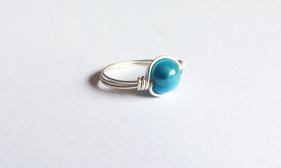 Sterling Silver Bead Ring (Turquoise)