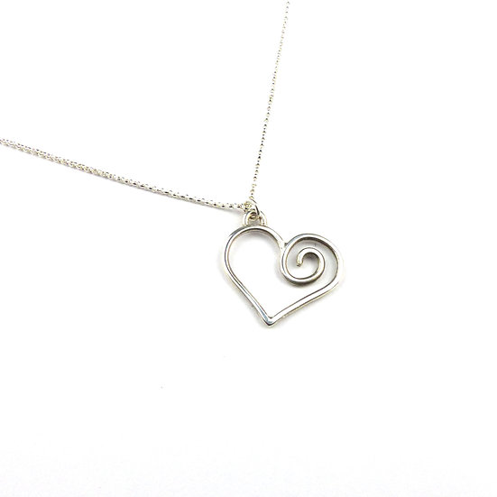 Sterling Silver Spiral Heart Pendant Necklace