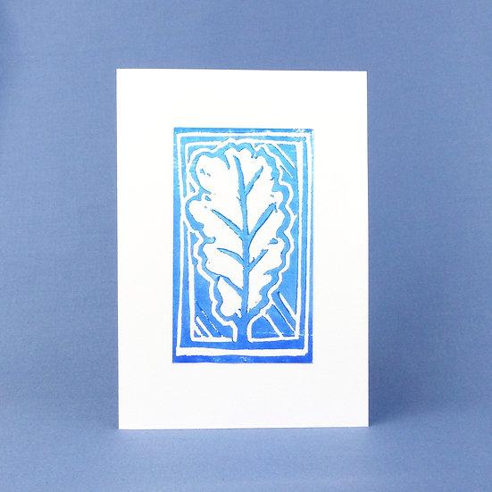 Oak Leaf Card - Blue - Handmade Greetings Card